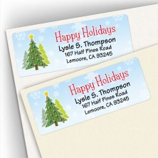 Happy Holidays Craft Trees Address Labels