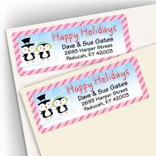 Happy Holidays Penguin Couple Address Labels