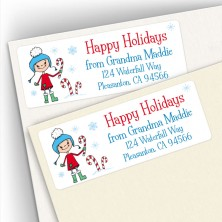 Happy Holidays Snow Girl Address Labels