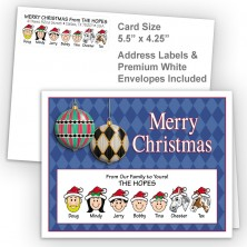 Harlequin Ornaments Merry Christmas Fold Note Set