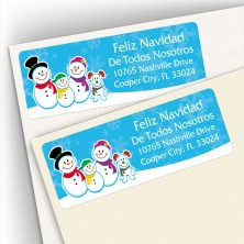 Holiday Snowman Family 3 and Doggy Address Labels