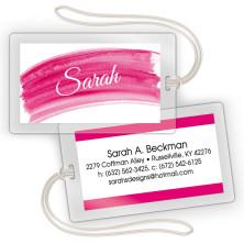 Hot Pink Watercolor Laminated Bag Tags