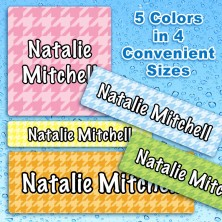 Houndstooth Waterproof Name Labels For Kids
