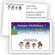 Ice Skating Happy Holidays Fold Note Set