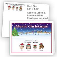 Ice Skating Merry Christmas Fold Note Set