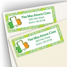 Irish Flag Shamrock Address Labels