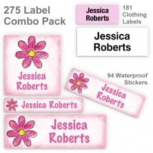 Magenta Flower Label Combo Pack