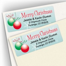 Merry Christmas Bulbs Snowflakes Address Labels