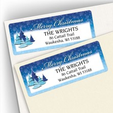 Merry Christmas Cool Trees Address Labels