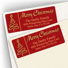 Merry Christmas Gold Tree Address Labels