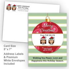 Merry Christmas Ornament Style N Christmas Card Set