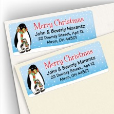 Merry Christmas Penguin Address Labels