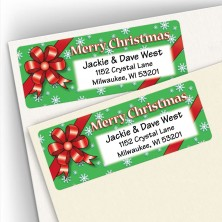 Merry Christmas Red Bow Address Labels