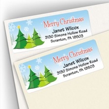 Merry Christmas Trees Address Labels