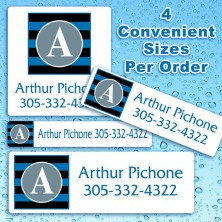 Monogram School Colors 6 Waterproof Name Labels For Kids