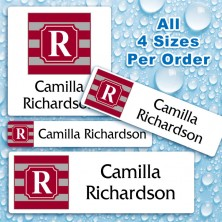 Monogram School Color 13 Waterproof Name Labels For Kids