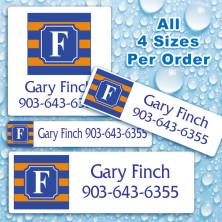 Monogram School Colors 1 Waterproof Name Labels For Kids