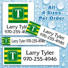 Monogram School Colors 10 Waterproof Name Labels For Kids