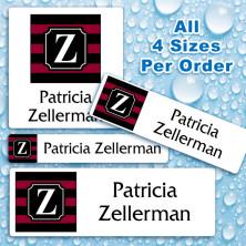 Monogram School Colors 16 Waterproof Name Labels For Kids