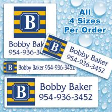 Monogram School Colors 18 Waterproof Name Labels For Kids