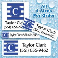 Monogram School Colors 8 Waterproof Name Labels For Kids