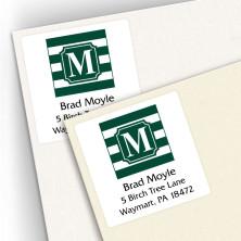 Monogram Square Address Labels School Colors 12