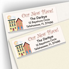 Moving Colored Houses Address Labels