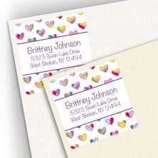 Multicolor Hearts Square Address Labels