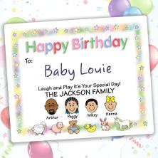 Nursery Happy Birthday Gift Label