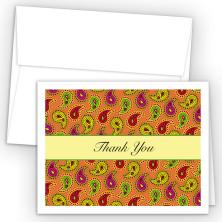 Orange Paisley Thank You Cards