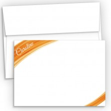 Orange Watercolor Flat Correspondence Cards