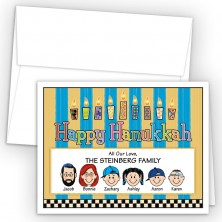 Pattern Candles Happy Hanukkah Holiday Fold Note Head
