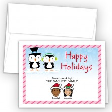 Penguin Couple Happy Holiday Fold Note