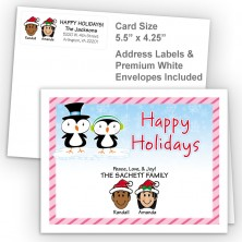 Penguin Couple Happy Holidays Fold Note Set