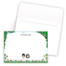 Picket Fence Bordered Family Correspondence Card