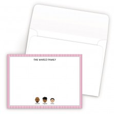 Pink Stripes Bordered Family Correspondence Card