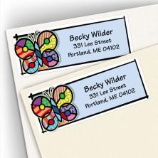Pop Art Butterfly Address Labels