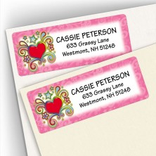 Psychedelic Heart Address Labels