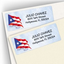 Puerto Rico Flag Address Labels