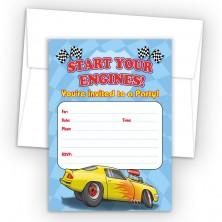 Race Car Fill-In Birthday Party Invitations