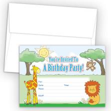 Safari Animals Fill-In Birthday Party Invitations