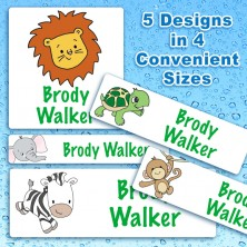 Safari Animals Waterproof Name Labels For Kids