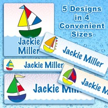 Sailboats Waterproof Name Labels For Kids