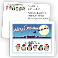Santa Silhouette Merry Christmas Fold Note Set