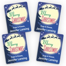Santa Silhouette Merry Christmas Small Gift Labels