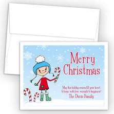 Snow Girl Merry Christmas Holiday Cards