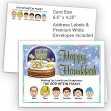 Snow Globe Happy Hanukkah Fold Note Set