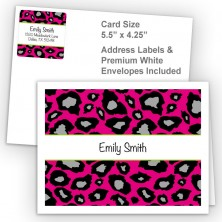 Snow Leopard Hot Pink Thank You Card Package