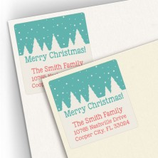 Snow Trees Square Address Labels