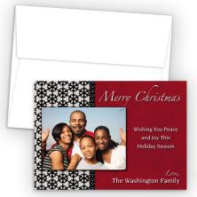 Snowflake Lace Photo Upload Holiday Card